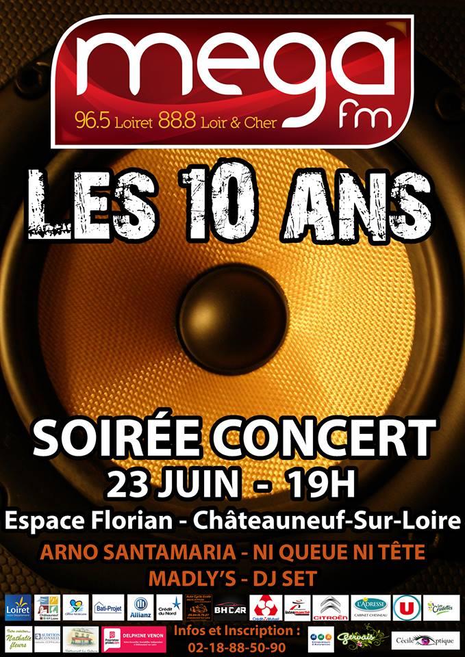 publicité pour le concert (soirée 10 ans de la radio)