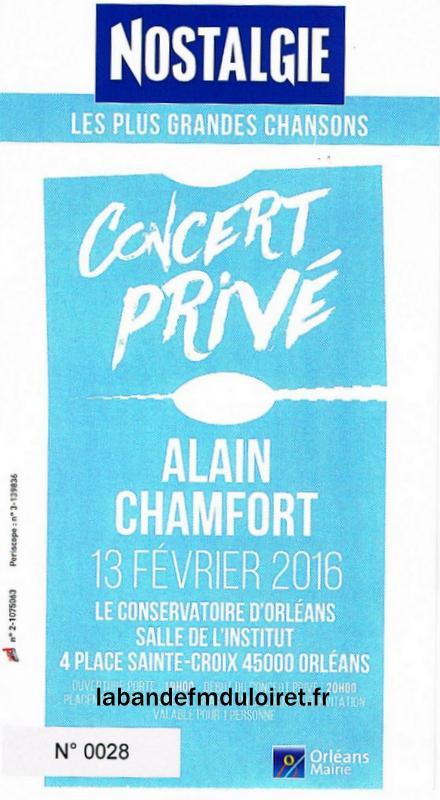billet du concert privée d'Alain Chamfort
