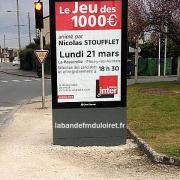 publicité pour le jeu des 1000 euros à Fleury (mars 2016)