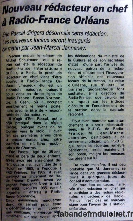article de presse RC / 13 septembre 1986