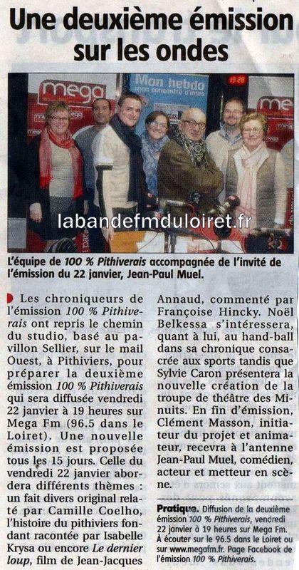 """article de presse janvier 2016 """"le Courrier du Loiret"""""""