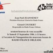 Le carton d'invitation à l'inauguration (13/09/1986)
