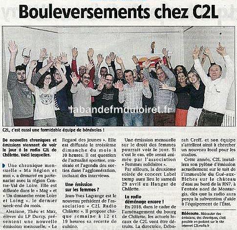 """article de presse """"Eclaireur du Gâtinais 19/4/2017"""