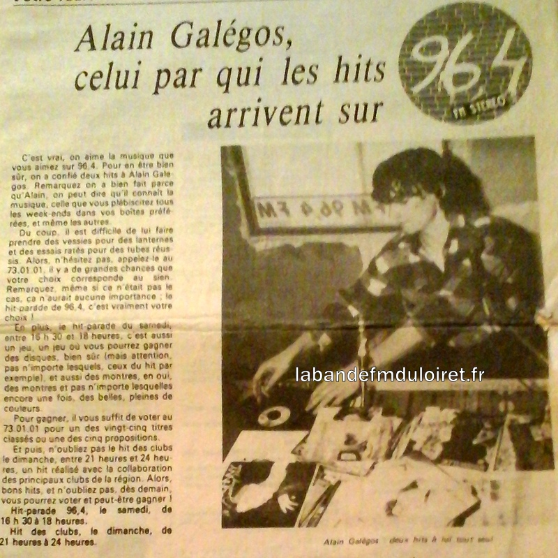 article de presse RC pour Alain Gallegos (hit parade)