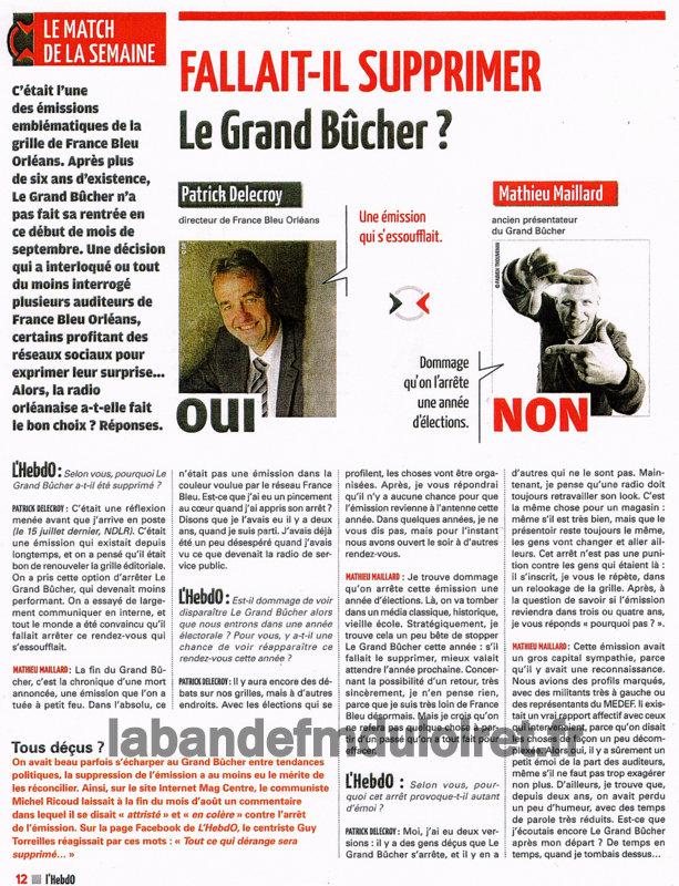 """article de presse """"l'hebdo"""" , sept. 2013"""