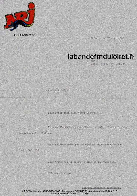lettre reçu d'un auditeur de NRJ Orléans en 1987