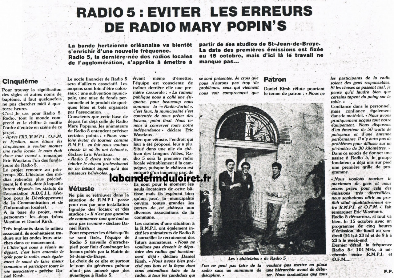 article de presse NR du 1er oct. 1982