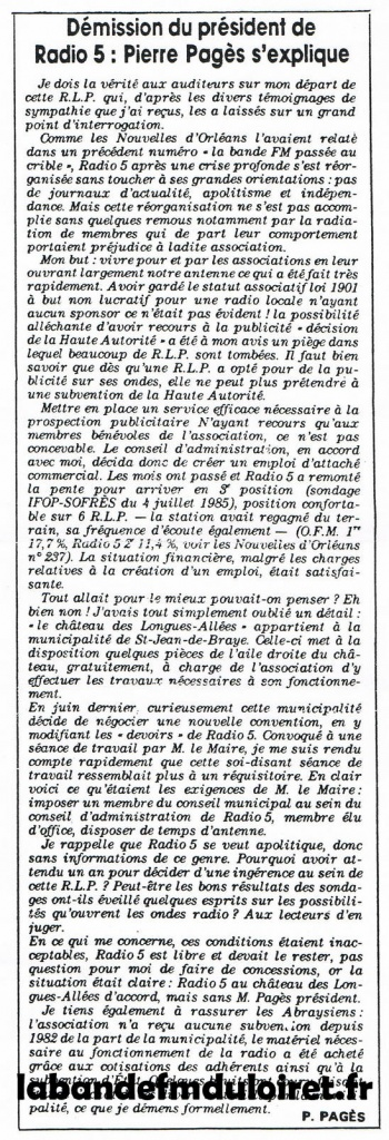 article de presse NR du 26 sept. 1985