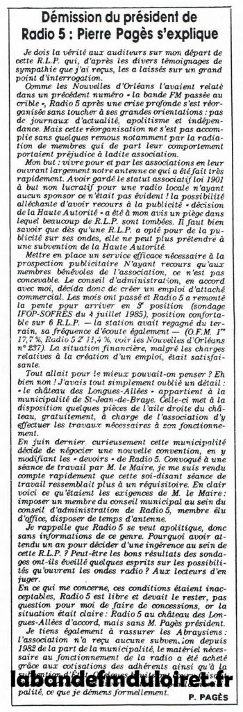 article de presse NR du 26 sept. 1985