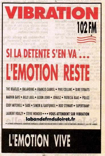 publicité pour la fin d' Europe 2 sur Orléans en juin 1991