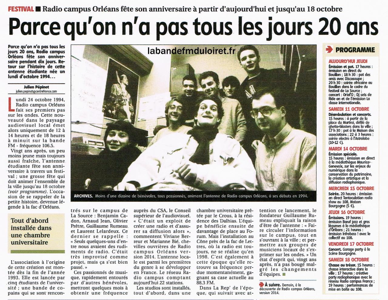 "article de presse ""la Rep"" du 9 octobre 2014"