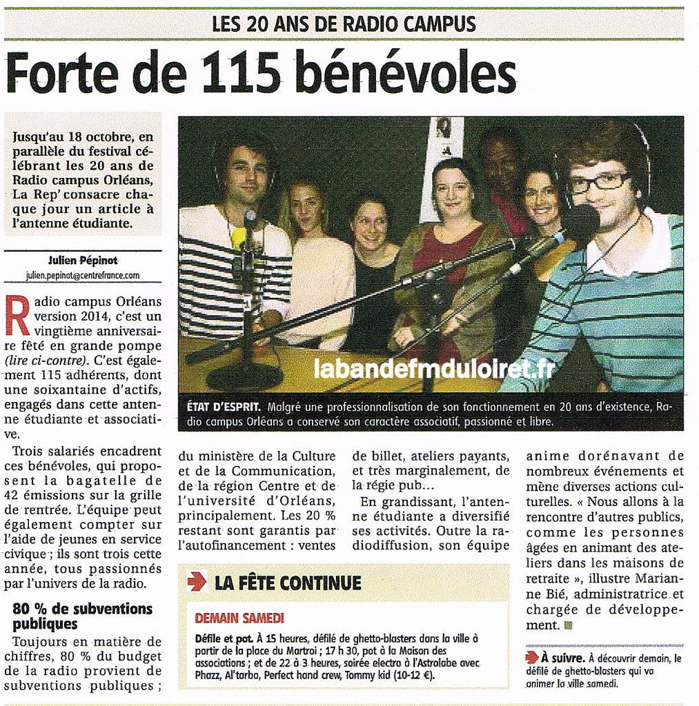 """article de presse """"La République du Centre"""", 10 oct. 2014"""