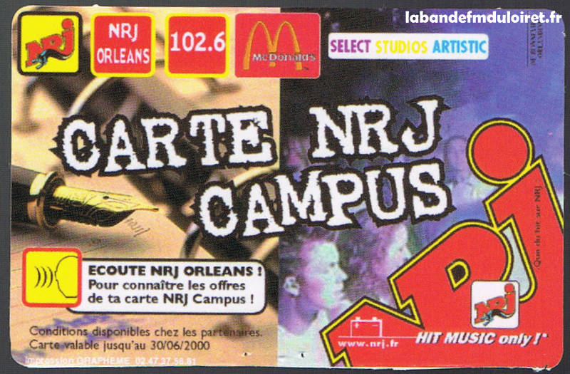 carte NRJ campus édition 1999/2000