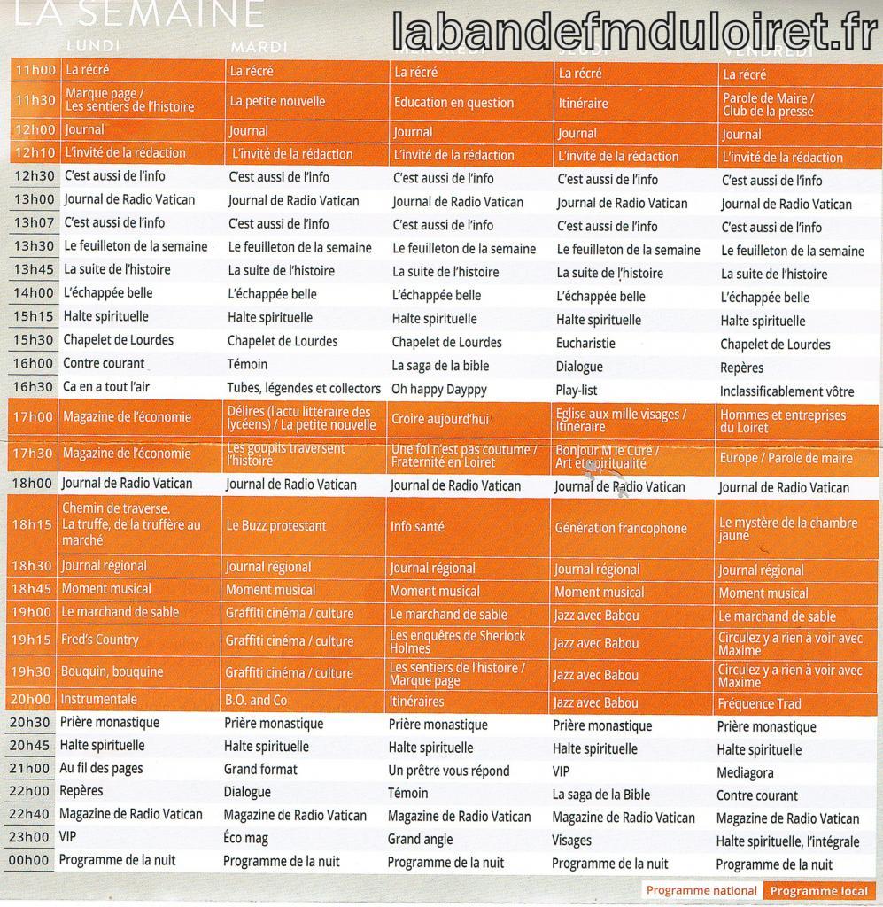 grille des programmes 2015/ semaine