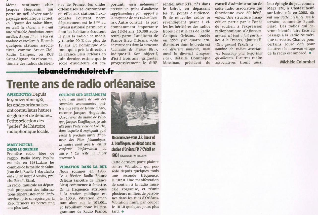 """""""La tribune d' Orléans"""", octobre 2011"""