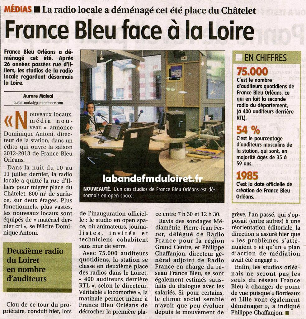article de presse de La République du centre 28 septembre 2012