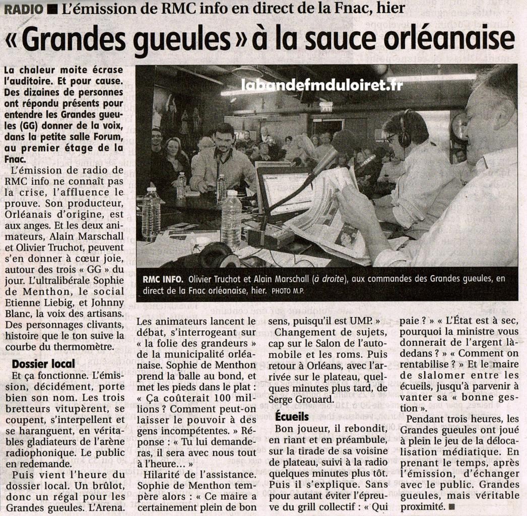 article de presse de La République du centre 29 septembre 2012