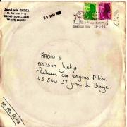 enveloppe d'une pochette disque envoyé à Radio 5 en 1986