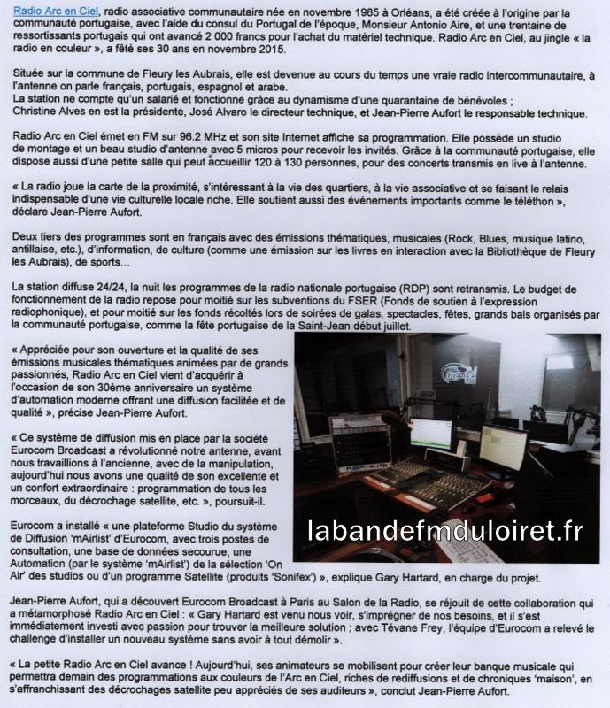 "article de presse ""RADIO WORLD"" , nov. 2016"