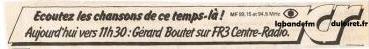 publicité 1981 pour l'émission de Gérard Boutet