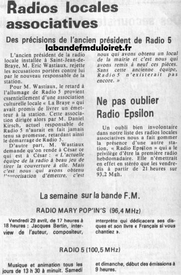 article de presse 30 avril 1983