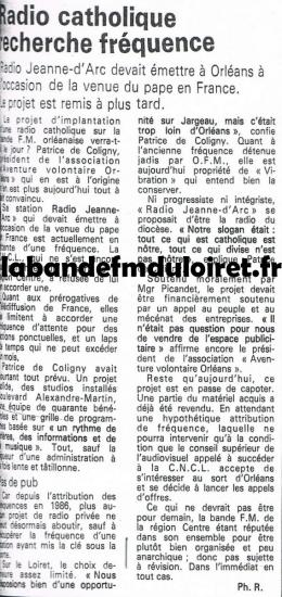 article de presse oct.1988 radio Jeanne d'Arc