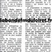 article de presse oct.1988 radio Jeanne d'Arc