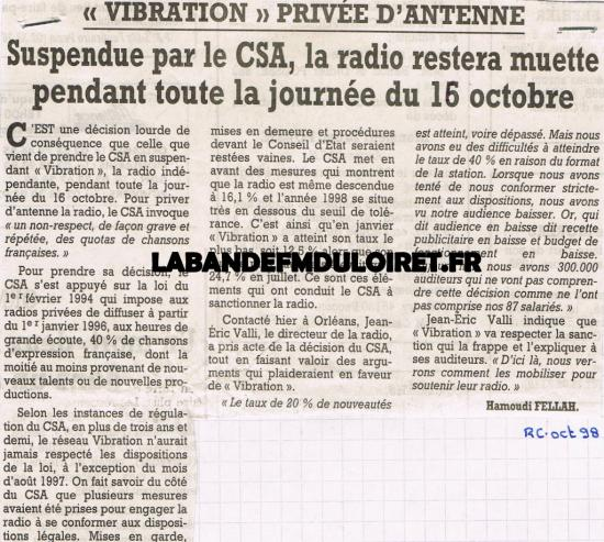 article de presse oct. 1998