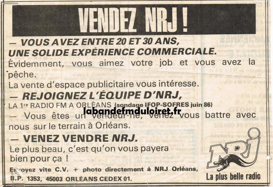 offre d 'emploi NRJ à la fin 1986