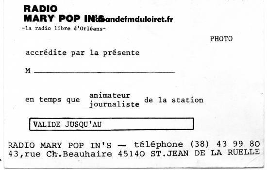 carte de presse Radio Marie Pop'ins (avec le logo en haut)
