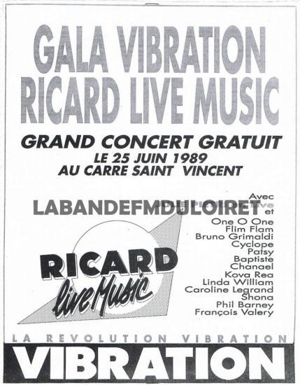 publicite 1989 pour la soirée Ricard live music