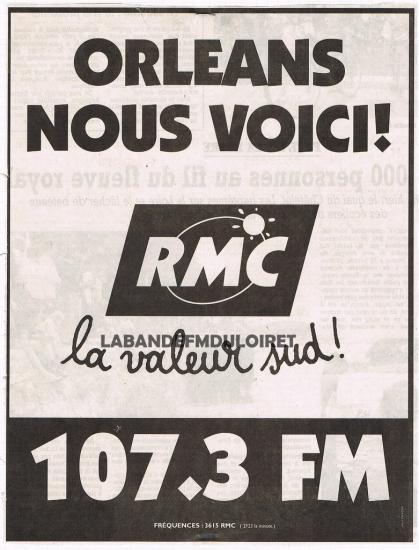 publicité pour l'arrivée de RMC sept. 1998