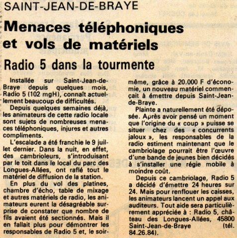 article de presse 23 juillet 1983, suit au vol