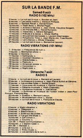 """grilles des programmes """"RC"""" du 6 aout 1983"""
