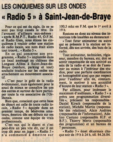 "article de presse""NR"" 7 avril 1983"