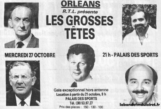 publicité octobre 1982 pour la venue à Orléans des grosses têtes