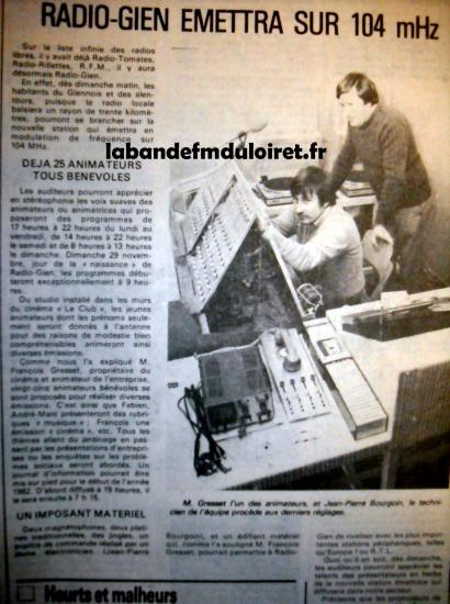 article de presse fin nov. 1981