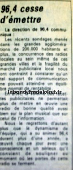 article de presse fin juillet 1985