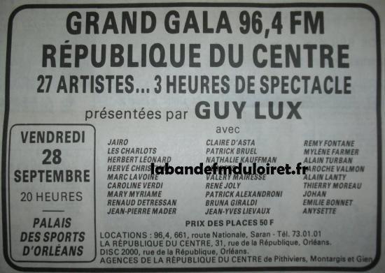 """pub. pour soirée de gala """"RC/96.4"""" du 28 sept. 1984"""