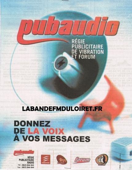 publicité Pubaudio, régie de Forum et Vibration