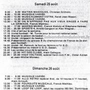 grille des programmes été 1984, le week end