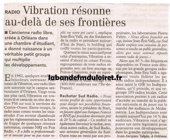 article de presse suitze rachat de Sud radio en 2005