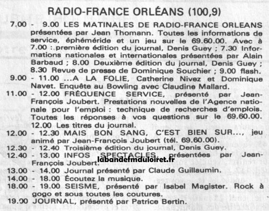 grille des programme  fév. 1985