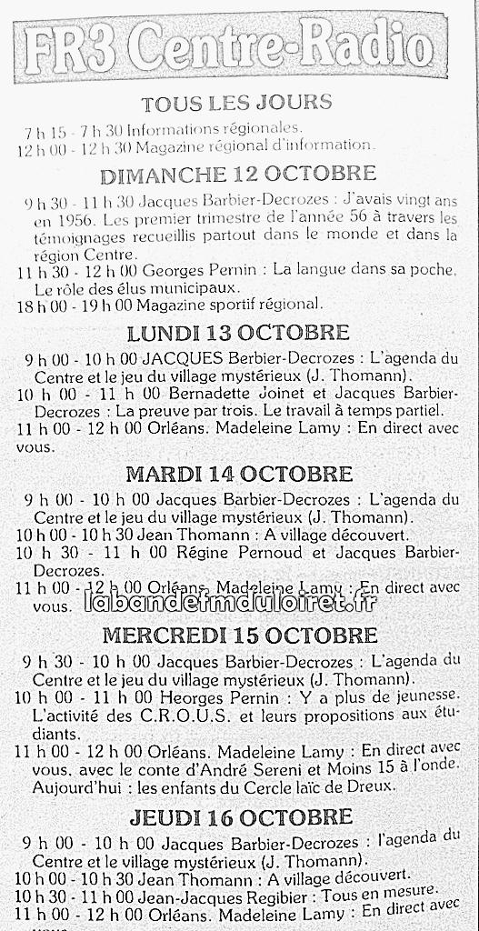 extrait de la grille des programmes en octobre 1980