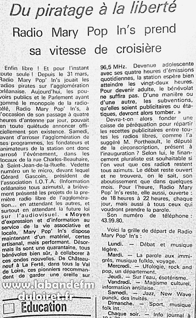 article de presse fin sept. 1981