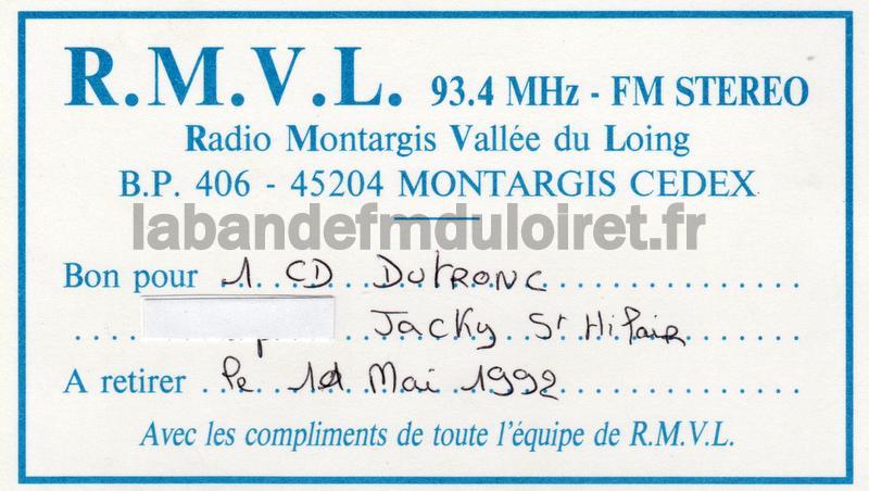 Bon cadeau RMVL (1992)