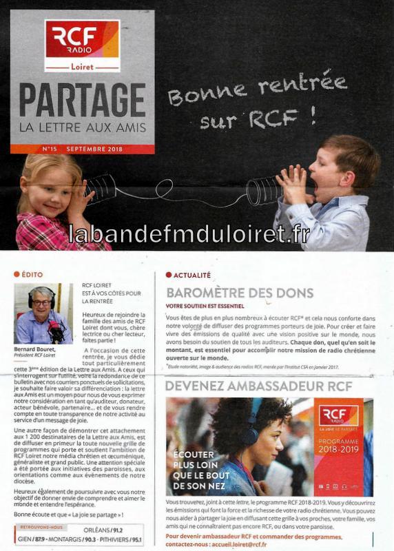 """dépliant """"les amis de RCF Loiret"""" 2018 (1/3)"""