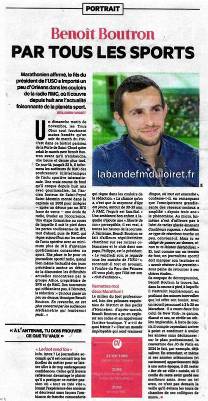 "article de presse ""la Tribune d' Orléans"" , nov. 2017"