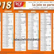le calendrier 2018 de RCF Loiret !