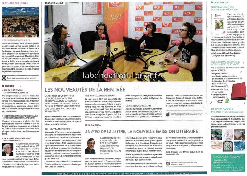 """dépliant """"les amis de RCF Loiret"""" 2018 (2/3)"""